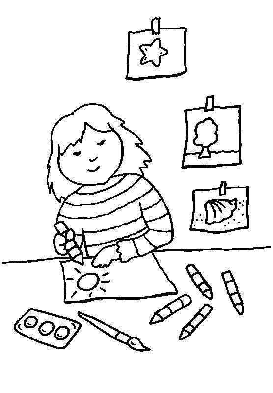 Kostenlose Malvorlage Rund Ums Spielen Mädchen Malt Ein Bild Zum
