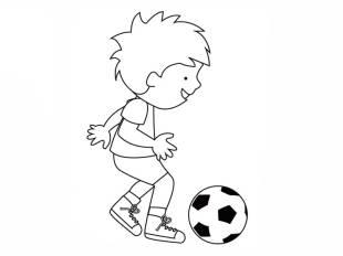 Kostenlose malvorlage junger fußballer