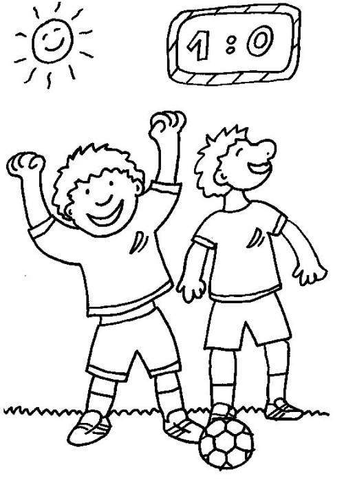 kostenlose malvorlage sport gewonnenes fußballspiel zum