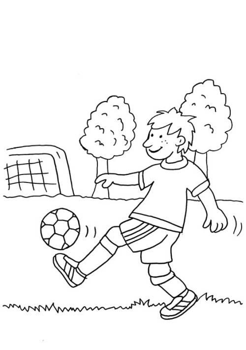Kostenlose Malvorlage Sport: Fußballspielen macht Spaß zum Ausmalen