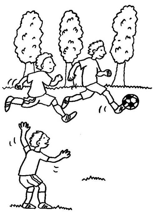 kostenlose malvorlage sport jungen beim fußballspielen