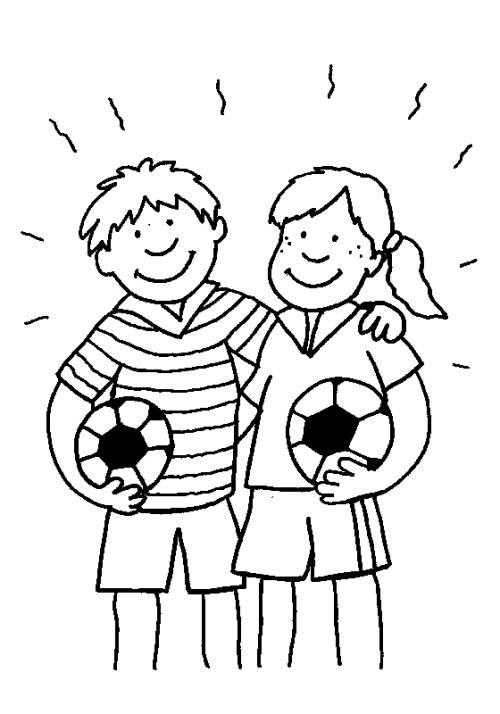 Kostenlose Malvorlage Sport Junge Und Mädchen Mit Fußbällen Zum