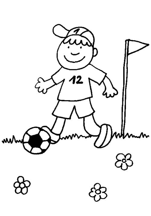 Kostenlose Malvorlage Sport Junge Mit Fussball Zum Ausmalen