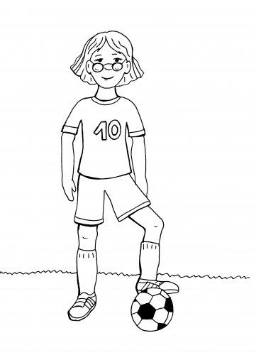Kostenlose Malvorlage Sport Madchen Beim Fussball Spielen