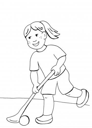 kostenlose malvorlage sport hockeyspielerin zum ausmalen