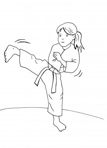 Kostenlose Malvorlage Sport Mädchen Beim Judo Zum Ausmalen