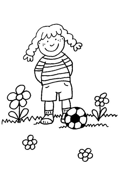 Kostenlose Malvorlage Sport Mädchen Mit Fußball Zum Ausmalen