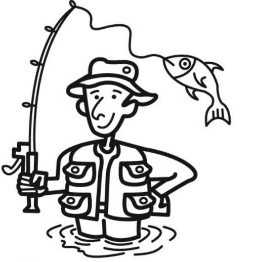 Kostenlose Malvorlage Sport: Angler zum Ausmalen