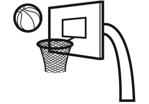 Kostenlose Malvorlage Sport: Basketballkorb zum Ausmalen