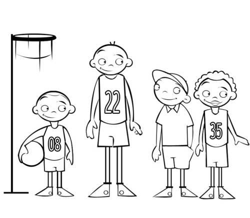 Kostenlose Malvorlage Sport: Basketball-Mannschaft zum Ausmalen
