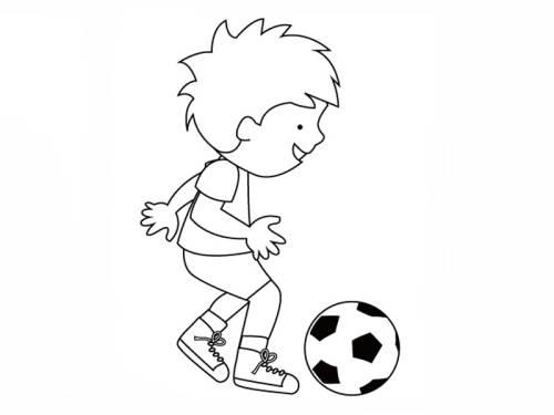 kostenlose malvorlage sport: junger fußballer zum ausmalen