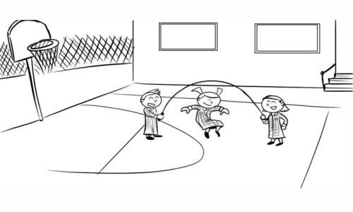 Kostenlose Malvorlage Sport: Kinder auf dem Sportplatz zum Ausmalen