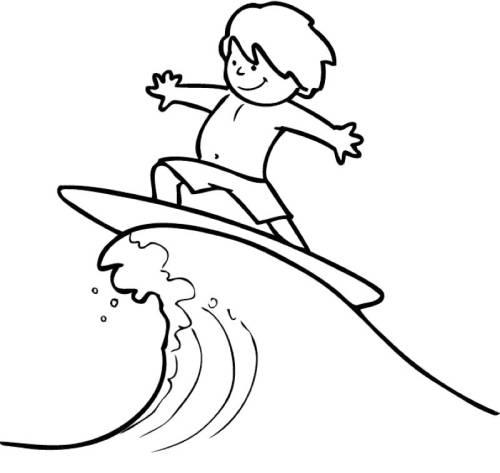 Kostenlose Malvorlage Sport Surfer Auf Einer Welle Zum Ausmalen