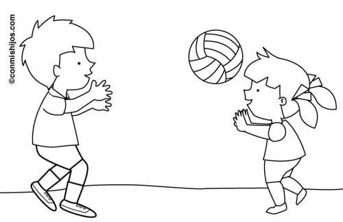 Kostenlose Malvorlage Sport Kinder Spielen Volleyball Zum Ausmalen
