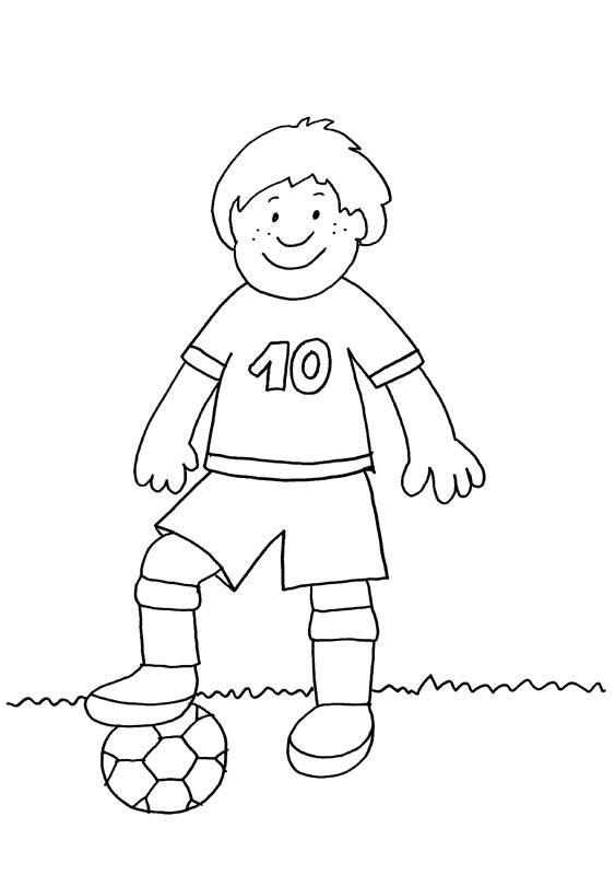kostenlose malvorlage sport: bub mit fußball zum ausmalen