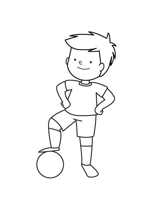 Ausmalbild Sport Kleiner Fussballspieler Zum Ausmalen