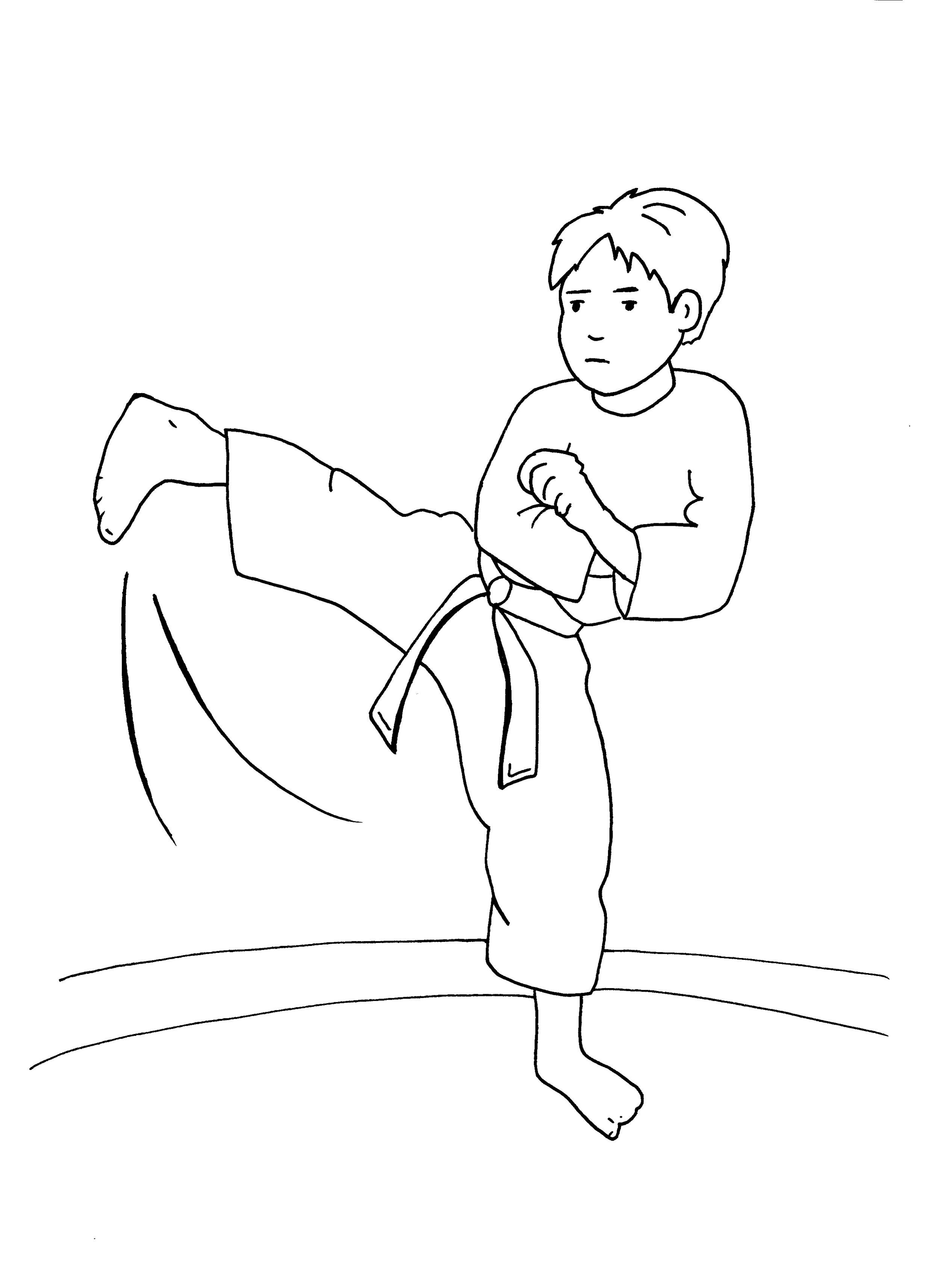 Ausmalbild Sport Junge Beim Judo Kostenlos Ausdrucken