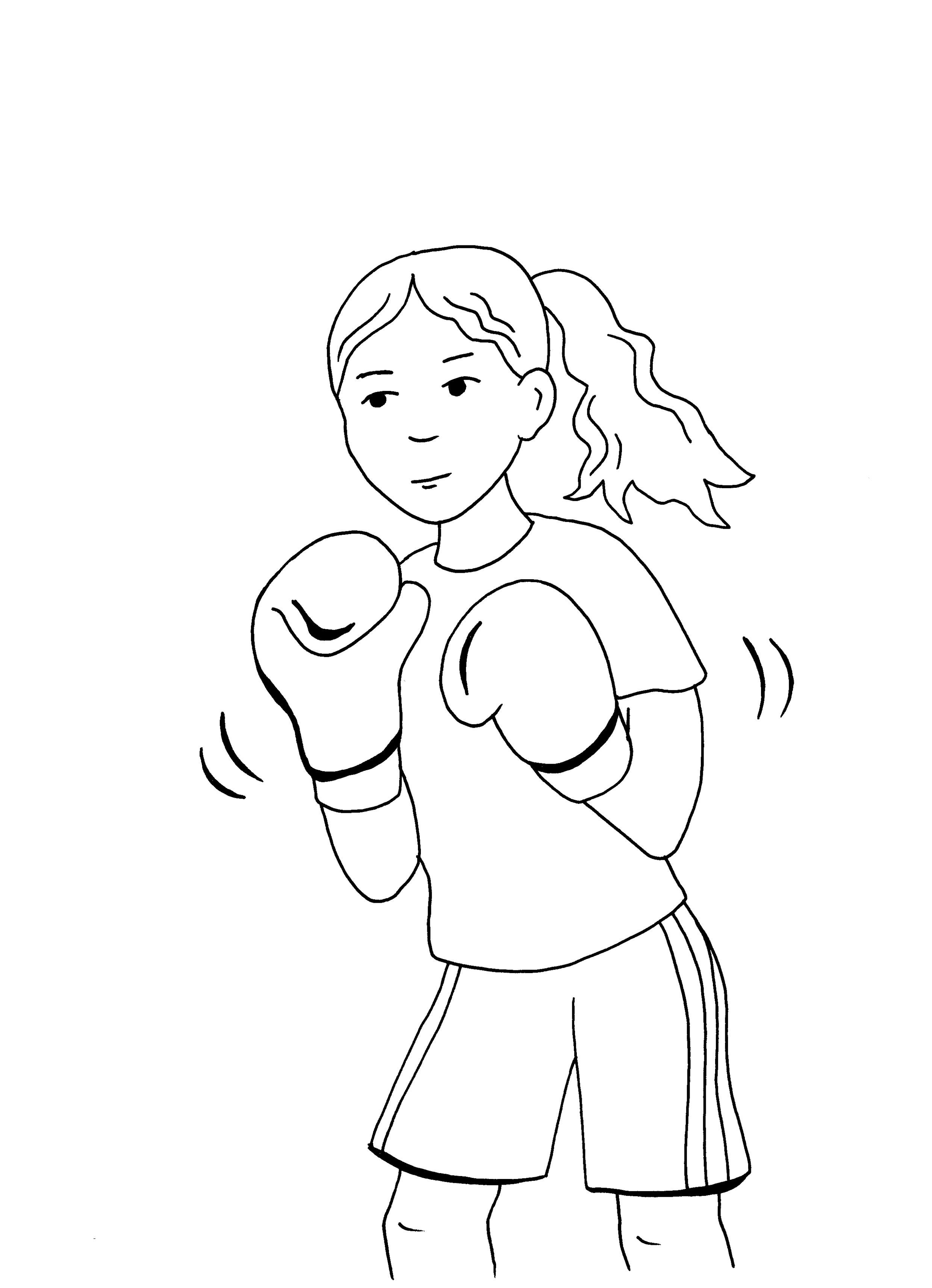 ausmalbild sport mädchen im boxverein kostenlos ausdrucken