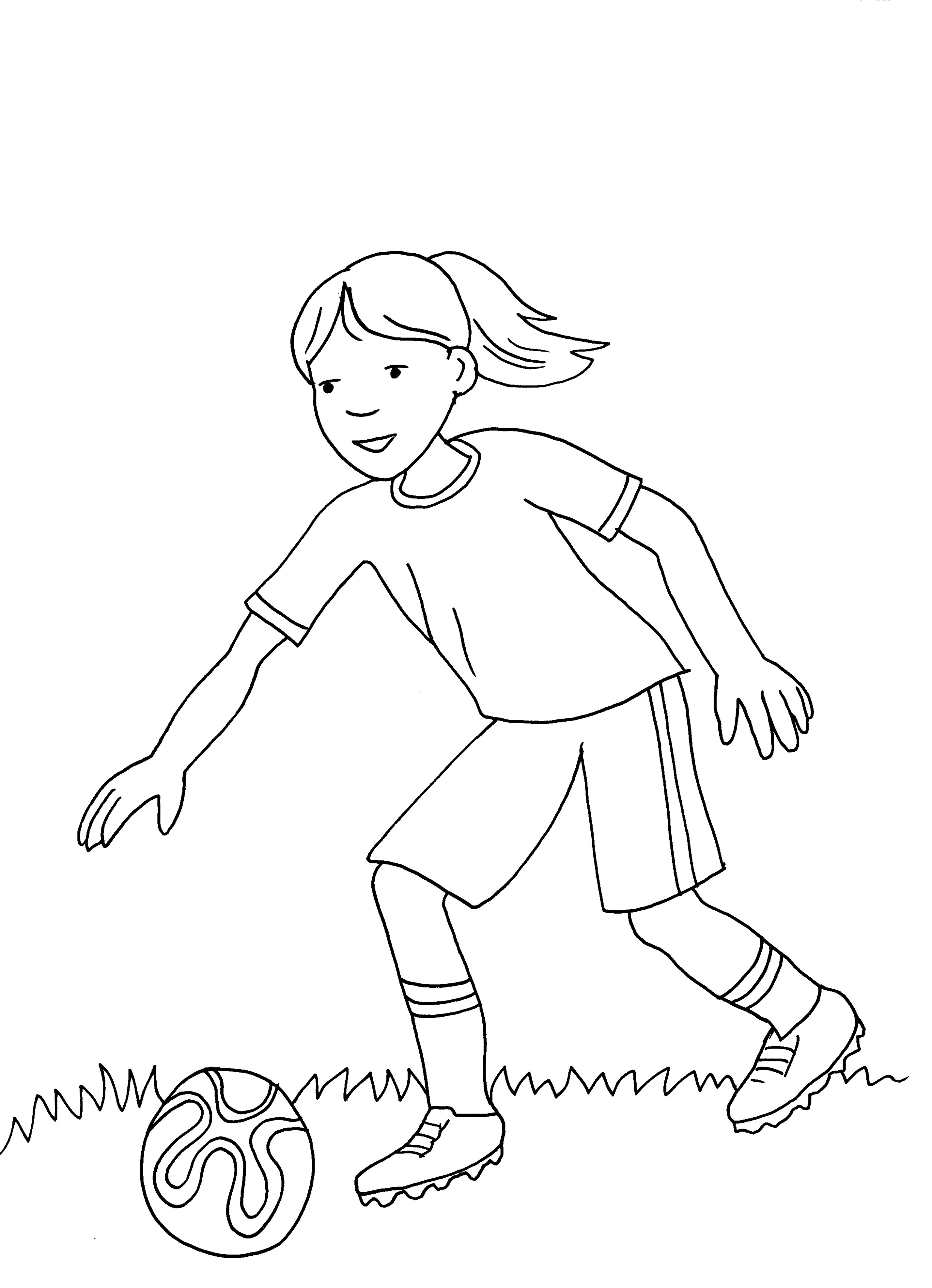 Ausmalbild Sport Mädchen Spielt Fußball Kostenlos Ausdrucken