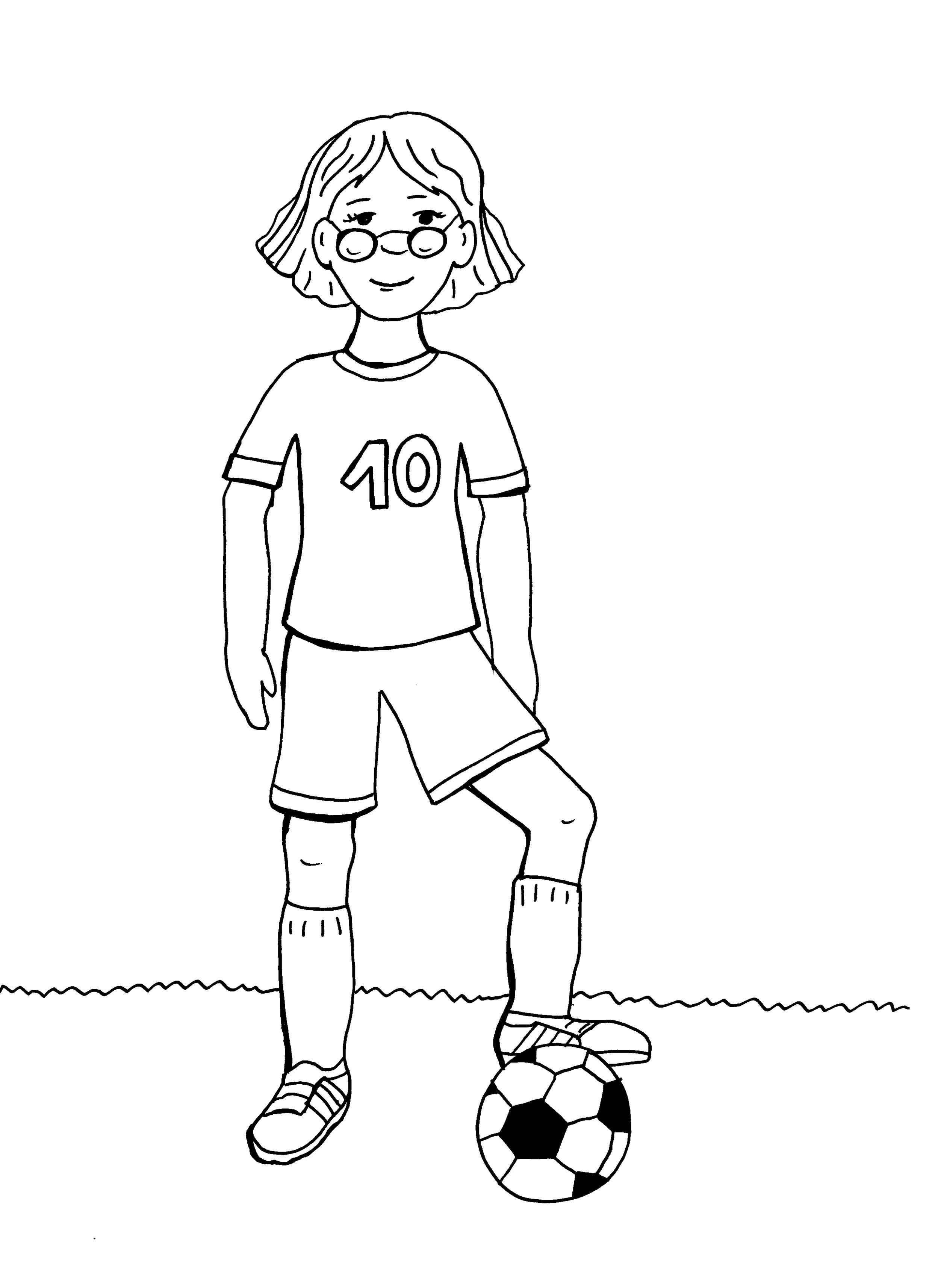 Ausmalbild Sport Mädchen Beim Fußball Spielen Kostenlos Ausdrucken
