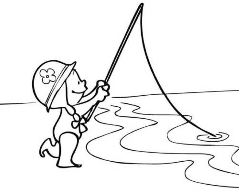 kostenlose malvorlage sport anglerin am meer zum ausmalen