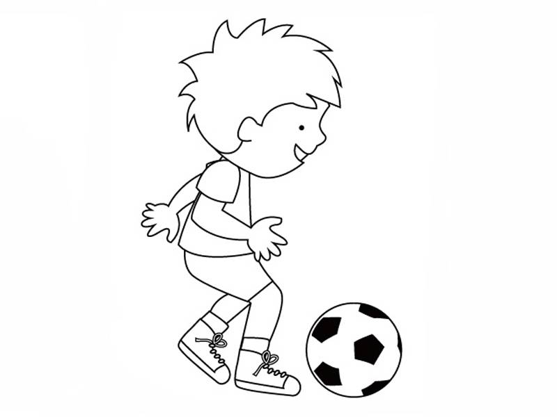 Ausmalbild Sport: Junger Fußballer kostenlos ausdrucken