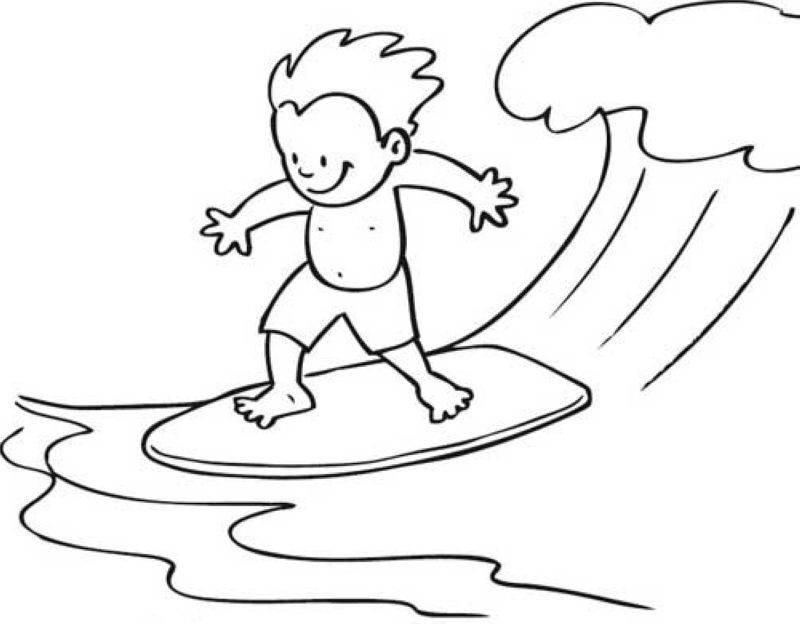 Kostenlose Malvorlage Sport: Junge auf Surfbrett zum Ausmalen