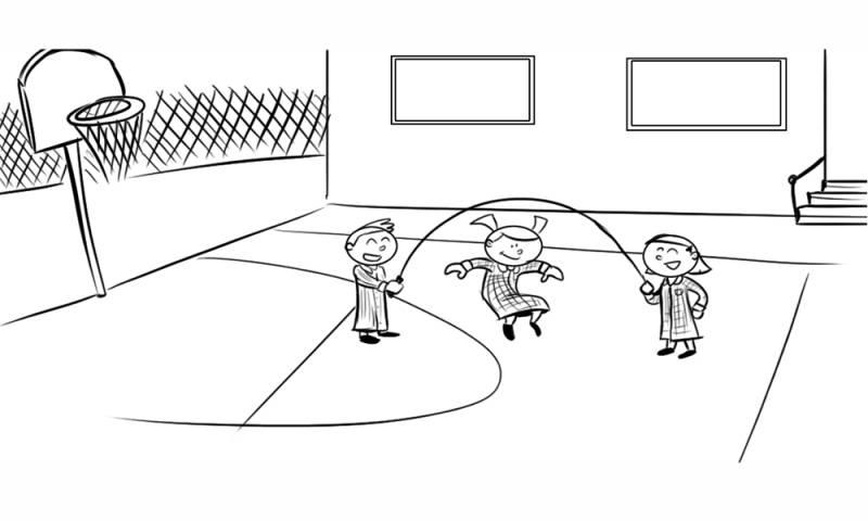 Dibujos Sobre La Escuela Para Colorear E Imprimir: Kostenlose Malvorlage Sport: Kinder Auf Dem Sportplatz Zum