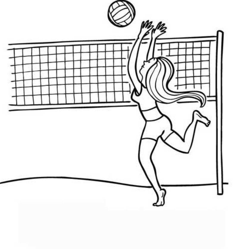 kostenlose malvorlage sport beachvolleyball zum ausmalen