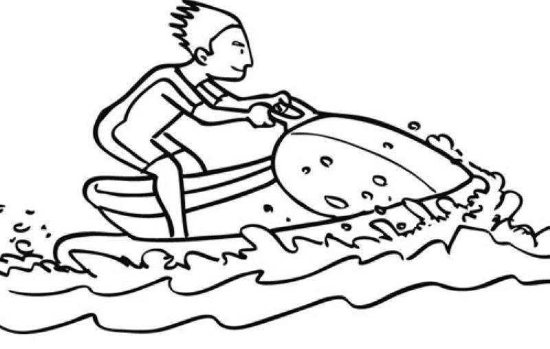 Kostenlose Malvorlage Sport Fußball Geschenk Zum Ausmalen: Kostenlose Malvorlage Sport: Wassermotorrad Zum Ausmalen