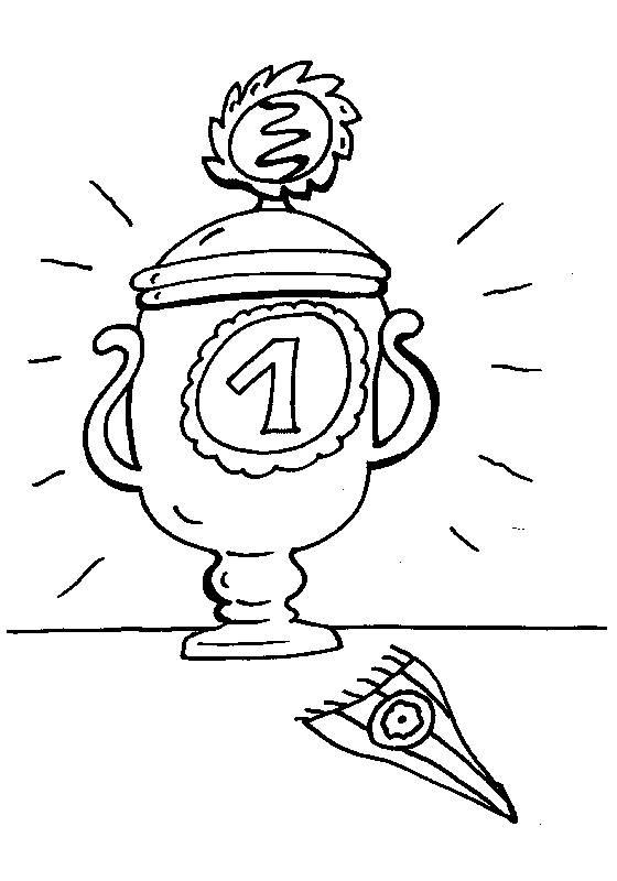 Kostenlose Malvorlage Sport: Pokal zum Ausmalen