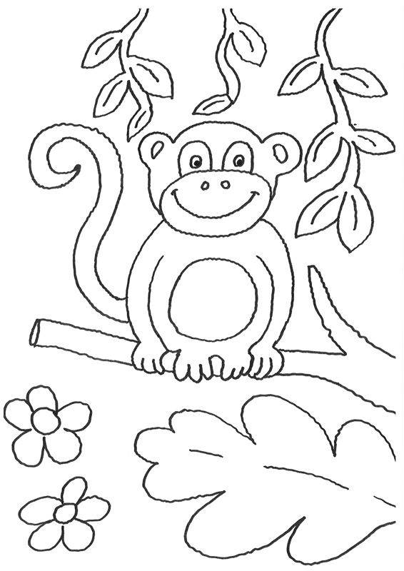 Ausmalbild Tiere: Affe auf dem Ast kostenlos ausdrucken