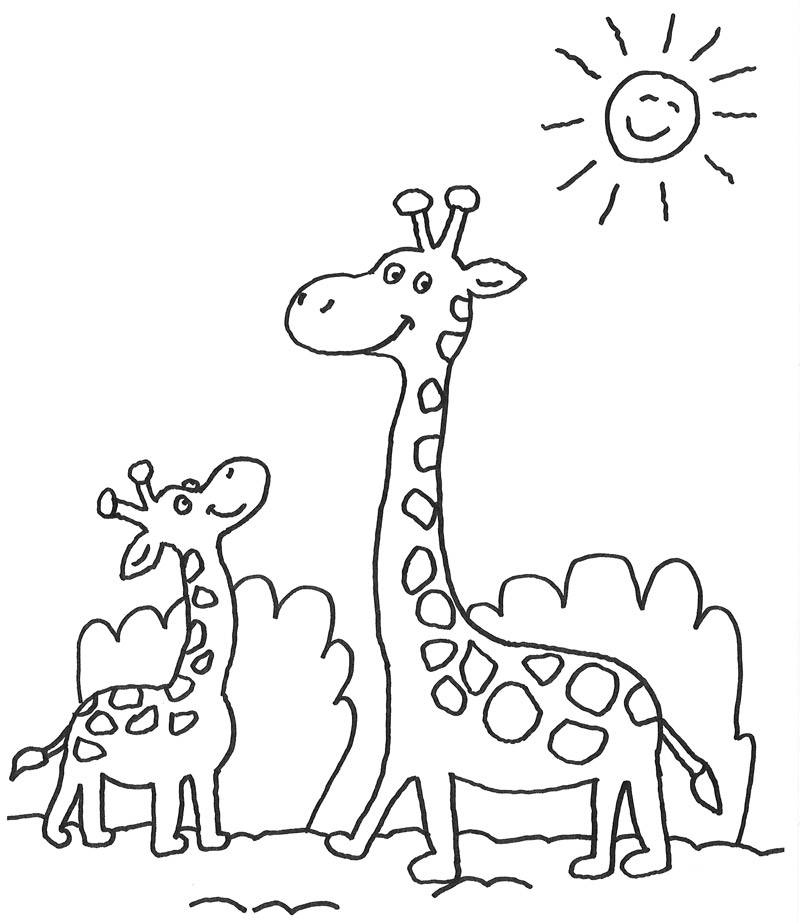 Kostenlose Malvorlage Tiere: Giraffenfamilie zum Ausmalen