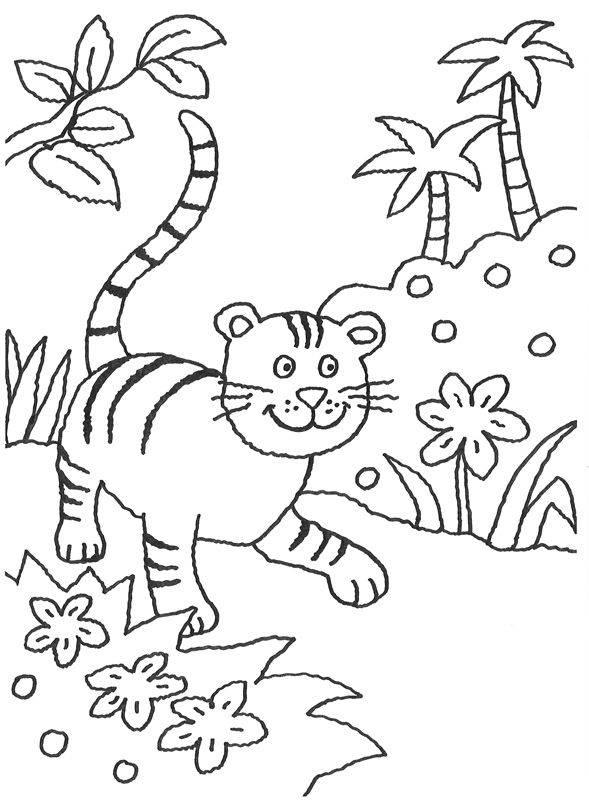 Ausmalbild Tiere: Kleiner Tiger im Dschungel kostenlos ausdrucken