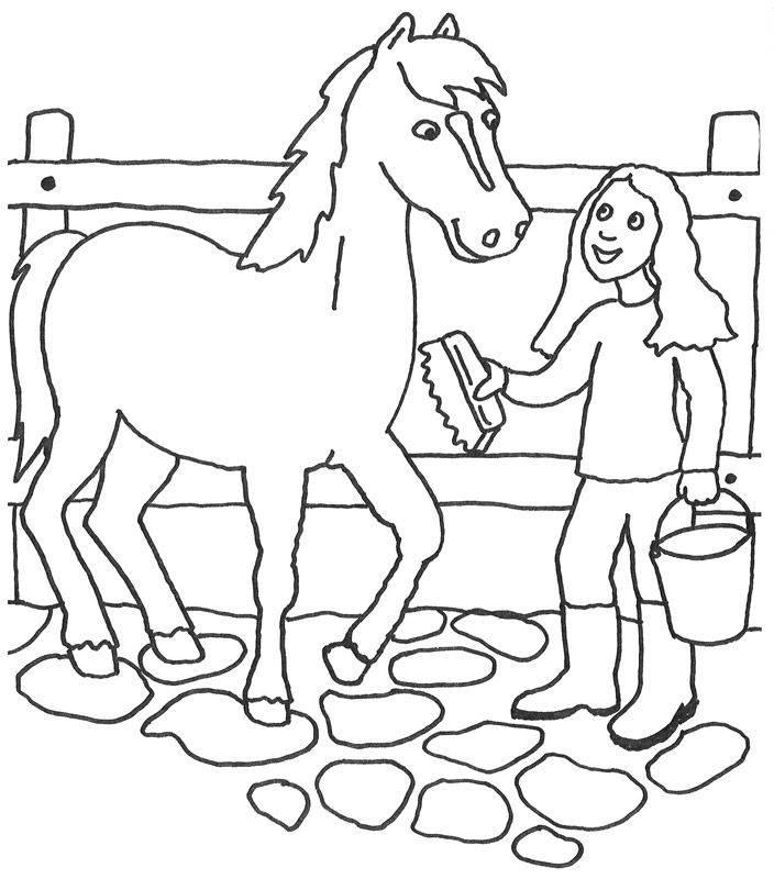 Kostenlose Malvorlage Tiere: Mädchen mit Pferd zum Ausmalen