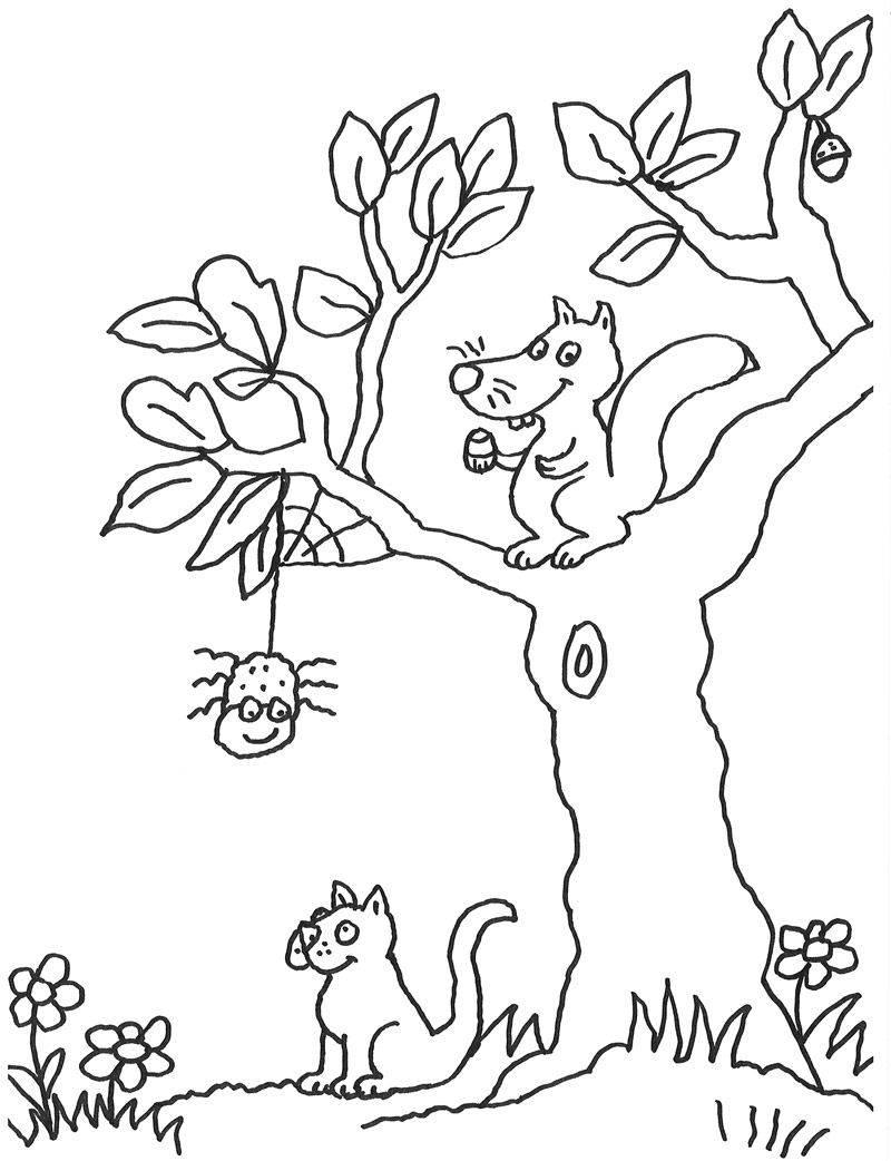 Ausmalbild Tiere: Eichhörnchen und Katze kostenlos ausdrucken