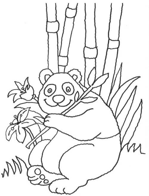 kostenlose malvorlage tiere glücklicher panda zum ausmalen