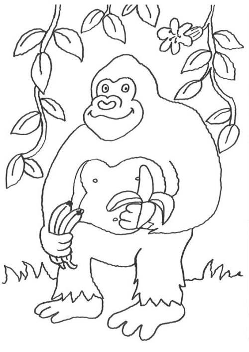 Kostenlose Malvorlage Tiere Gorilla Mit Banane Zum Ausmalen