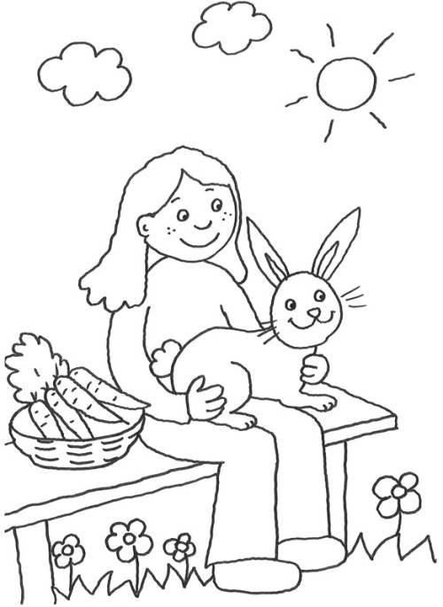 Kostenlose Malvorlage Tiere: Mädchen mit Hase zum Ausmalen