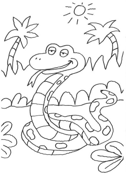 Kostenlose Malvorlage Tiere: Schlange im Dschungel zum Ausmalen
