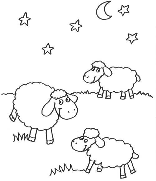 Kostenlose Malvorlage Tiere: Schafe in der Nacht zum Ausmalen