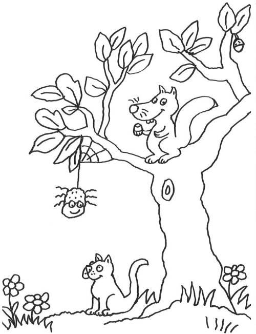 Kostenlose Malvorlage Tiere Eichhörnchen Und Katze Zum Ausmalen
