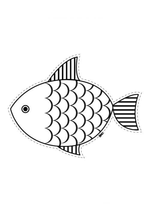 Kostenlose Malvorlage Tiere: Fisch zum Ausschneiden zum Ausmalen