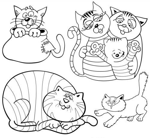 kostenlose malvorlage tiere: viele katzen zum ausmalen zum