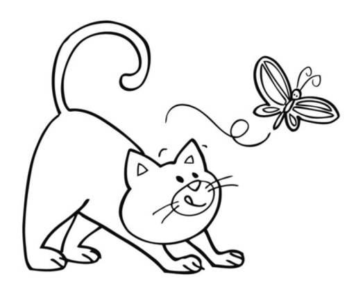 Kostenlose Malvorlage Tiere: Katze und Schmetterling zum Ausmalen