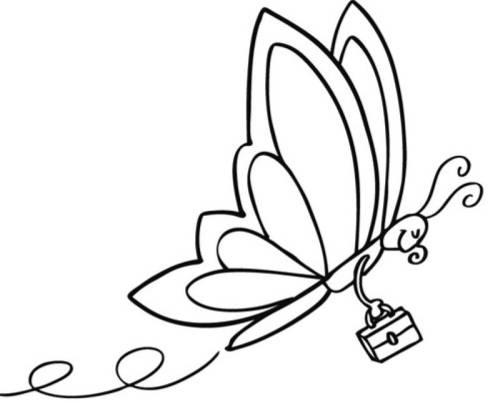 Kostenlose Malvorlage Tiere: Schmetterling mit Aktentasche zum Ausmalen