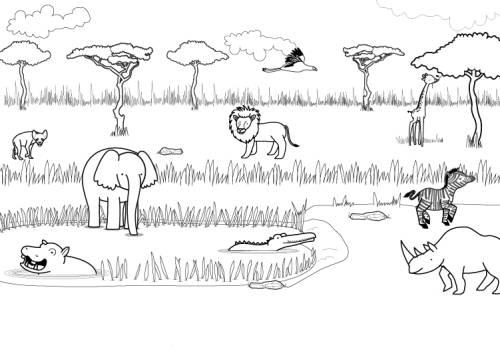 Kostenlose Malvorlage Tiere Tiere In Der Savanne Ausmalen Zum Ausmalen