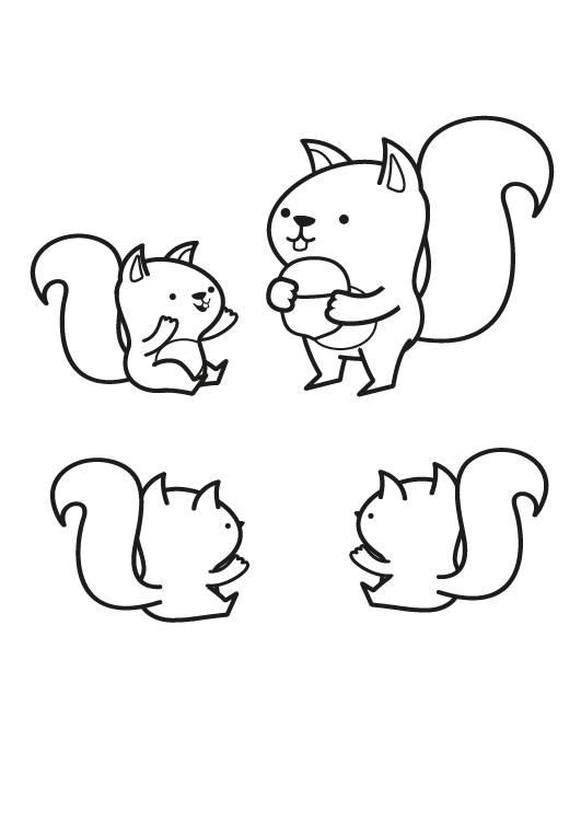 Ausmalbild Tiere Eichhörnchenfamilie Zum Ausmalen Kostenlos Ausdrucken