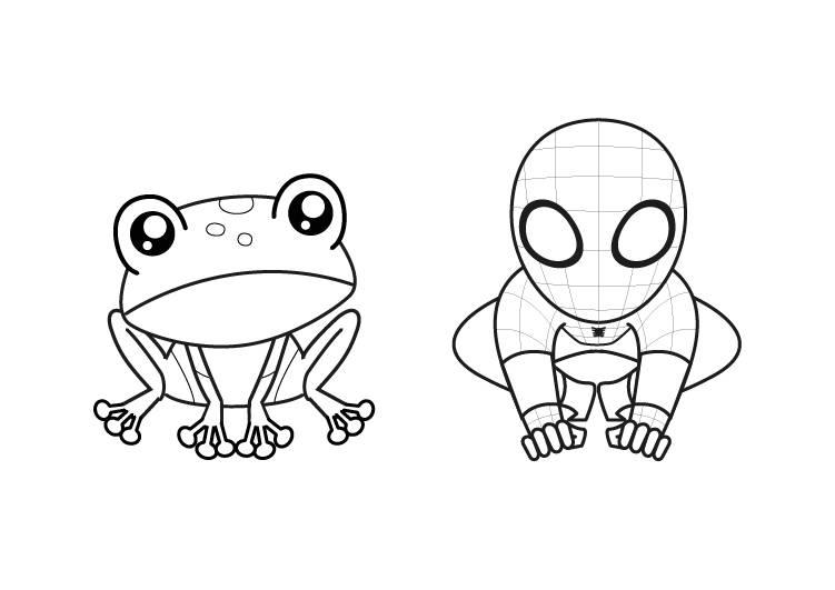 Ausmalbild Tiere Frosch Und Spiderman Kostenlos Ausdrucken