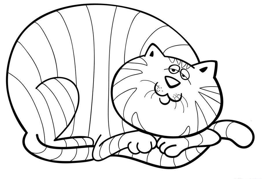 Ausmalbild Tiere: Katze schläft zusammengerollt kostenlos ausdrucken
